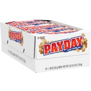 Payday Chewy Candy Bars, Peanut Caramel, 1.85 oz., 24/Box (80723)