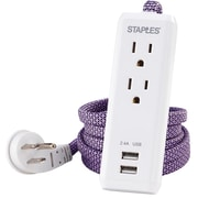 Staples 6' Braided Extension Cord, 2-Outlet 2 USB, Purple (53051)