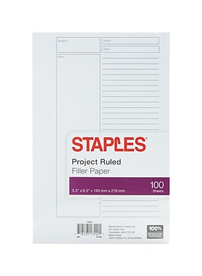 Staples® Project Ruled Filler Paper, 5-1/2
