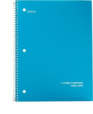 Staples Poly Cover Wirebound Notebook, Wide Ruled, Assorted Colors, 8
