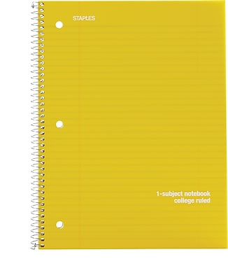 Staples® Poly Cover Wirebound Notebook, College Ruled, 8