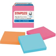 "Staples Stickies® Pop-Up Notes, 3"" x 3"", Bright Colors, 6 Pads/Pack (S-33BRP6)"