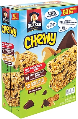 Quaker Chewy Granola Bar Chocolate Chip & Peanut Butter Chocolate Chip Variety Pack 60 Count (220-00434)