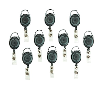 Staples Metal Carabiner Badge Reels, Smoke, 10/Pack (41792-CC)