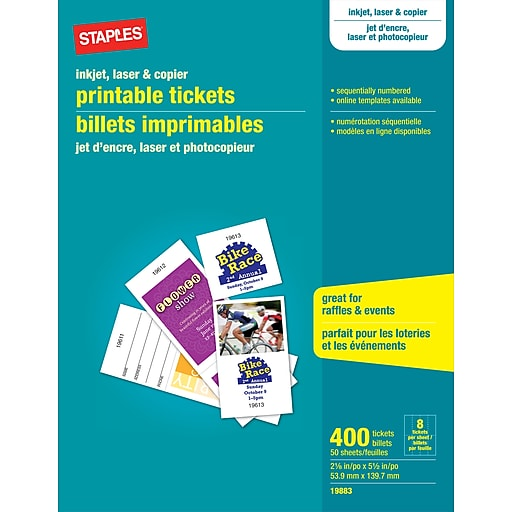 staples printable tickets matte white 400 tickets pack 19883