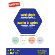 "Staples® Colored Card Stock, 8.5"" x 11"", Assorted, 100 Sheets/Pack (14821)"