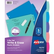 Avery Big Tab Write & Erase Durable Plastic Dividers, 5 Multicolor Tabs, 1 Set  (16270KBF)