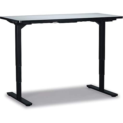 check out 8b262 c5193 Staples Electric Sit Stand Adjustable Desk, Solid Grey