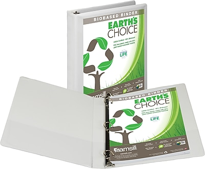 """Samsill Earth's Choice™ Biobased 3 Ring View Binder, 1"""" D-Ring, Customizable Clear View Cover, White (16937)"""