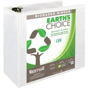 Samsill Earth's Choice™ Biobased 3 Ring View Binder, 5 Inch Round Ring, Customizable Clear View Cover, White (18907)