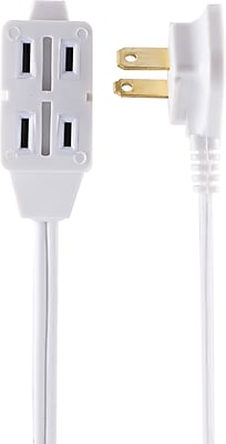 Staples 12' Extension Cord 3-Outlet, White (22138)