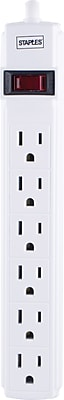 Staples® Power Strip Cord, 6 Outlets, 15'