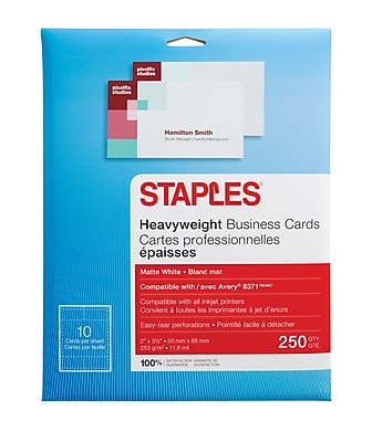 Staples Inkjet Business Cards 2 x 3 12 Matte White 250Cards