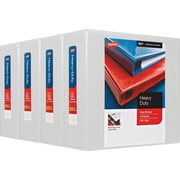 """Staples® Heavy-Duty View Binder with 4"""" D-Rings, 775 Sheet Capacity, White (24696CT)"""