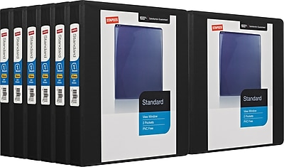 Staples 1-inch Standard View Binder with D-Rings, Black, 12/pack (26431)