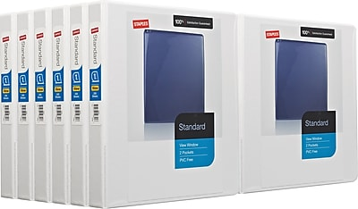 Staples 1-inch Standard View Binder with D-Rings, White, 12/pack (26432)