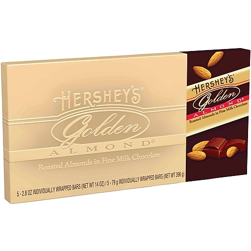 HERSHEY'S Golden Almond Chocolate Bar Gift Box, 5 Count, 2.8 Ounce Bars