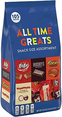 HERSHEY'S All Time Greats Snack Size Assortment, 105 Pieces, 38.9 Oz. (HEC20243)