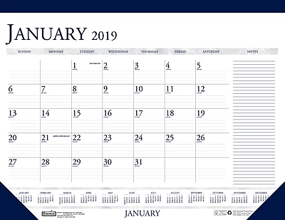 photograph about Calendar Notes named Home of Doolittle 2019 Regular 2 Shade With Notes Table Pad Calendar 22 x 17 Inches (HOD164)