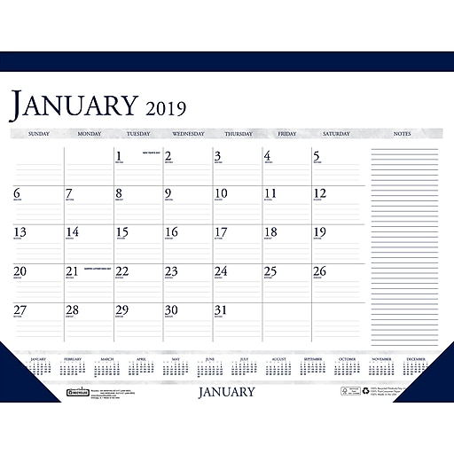 c96dd2b7c11 House of Doolittle 2019 Monthly Two Color With Notes Desk Pad ...