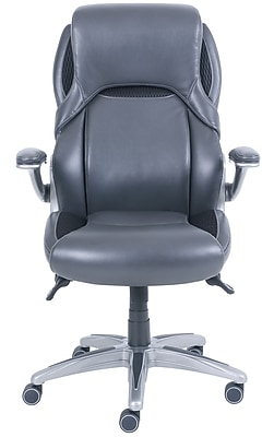 Dormeo Bristol Octaspring Bonded Leather Executive Office Chair, Adjustable Arms, Dark Gray (49583)