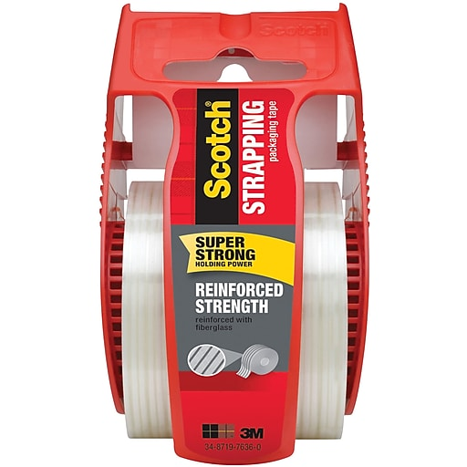 """Scotch® Reinforced Strength Shipping Strapping Tape with Dispenser, 1.88""""W x 10 Yards (50)"""