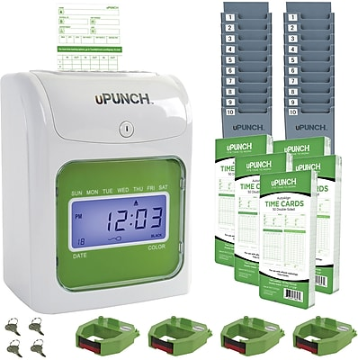 uPunch™ Electronic Auto-Align Punch Card Time Clock Bundle (UB1000)