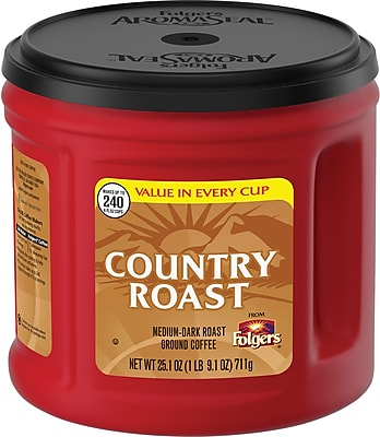 Folgers® Country Roast Coffee, Medium-Dark Roast Ground, 25.1 oz. Canister (SMU02063)