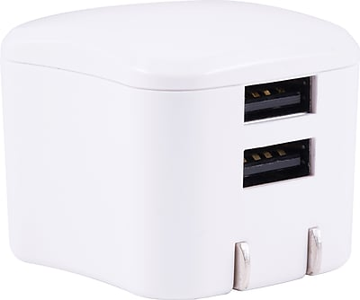 Staples 2-Port USB Wall Charger, White