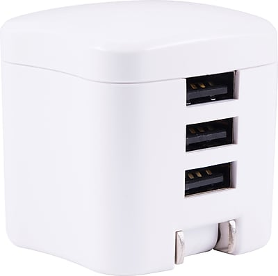 Staples 3-Port USB Wall Charger, White