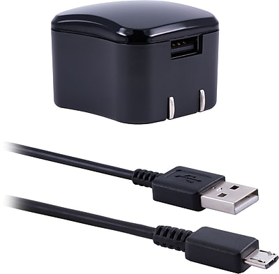 Staples 1-Port USB Wall Charger with 6' Micro USB Charge/Sync Cable, Black