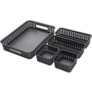 Thinkspace Plastic Weave Bins, Black, 5/Pack  (37530)