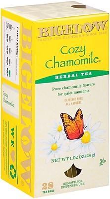 Bigelow® Cozy Chamomile® Herbal Tea, Caffeine Free, 28 Tea Bags/Box (RCB004011)