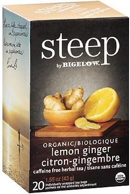 Steep by Bigelow Organic Lemon Ginger Herbal Tea, Caffeine Free, 20 Tea Bags/Box (RCB17704)