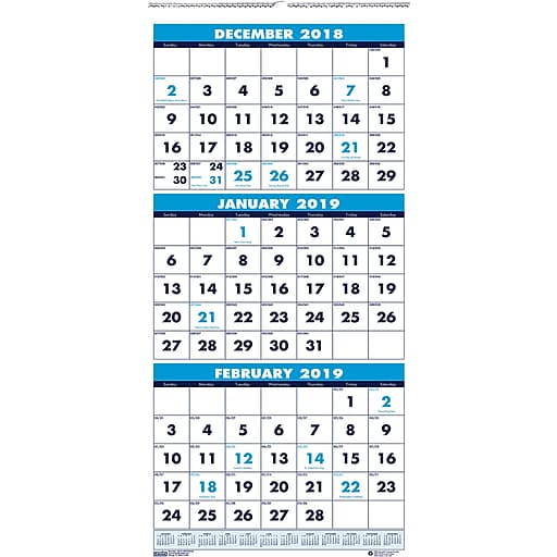 House of Doolittle 2019 Three Month Wall Calendar 12-1/4 x 26 Inches (HOD3640)