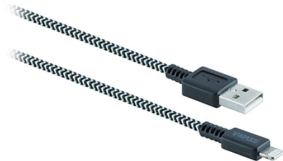 Staples 6' Braided Lightning to USB Charge/Sync Cable, Black/White