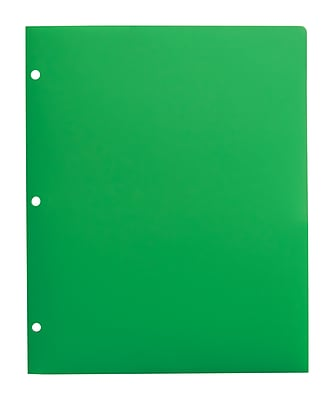 Staples® Twin-Pocket Poly Portfolios Without Fasteners, Green