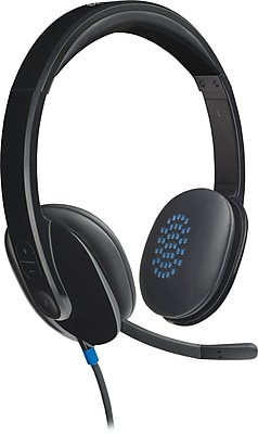 Logitech H540 USB Wired PC Headset for Internet Calls and Music (981-000510)