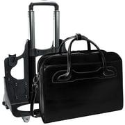 McKlein W Series, WILLOWBROOK, Genuine Cowhide Leather, Patented Detachable -Wheeled Ladies' Laptop Briefcase, Black (94985)