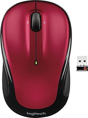 Logitech M325 Advanced Optical Wireless USB Mouse, Ambidextrous, Red (910-002651)