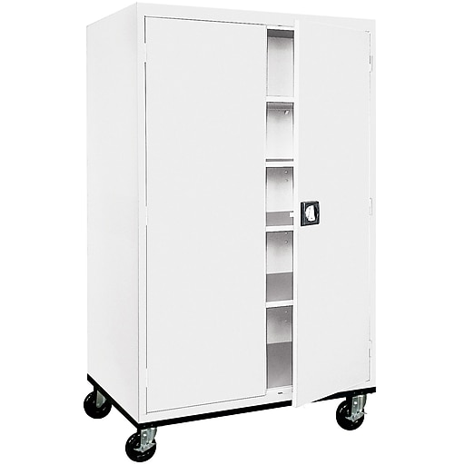 "Sandusky 72""H Transport Steel Storage Cabinet with 4 Adjustable Shelves, White (TA4R462472-22)"