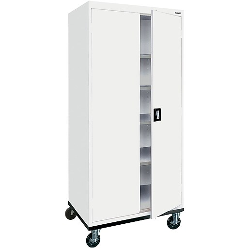 "Sandusky 72""H Transport Steel Storage Cabinet with 4 Adjustable Shelves, White (TA4R362472-22)"