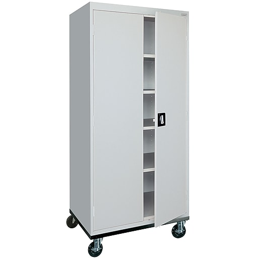 "Sandusky 72""H Transport Steel Storage Cabinet with 4 Adjustable Shelves, Dove Gray (TA4R362472-05)"