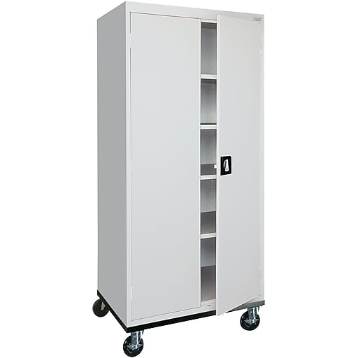 "Sandusky 72""H Transport Steel Storage Cabinet with 4 Adjustable Shelves, Dove Gray (TA4R302460-05)"