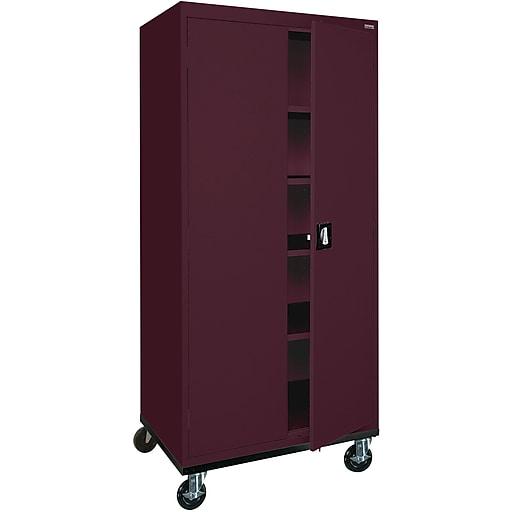 """Sandusky 72""""H Transport Steel Storage Cabinet with 4 Adjustable Shelves, Burgundy (TA4R302460-03)"""