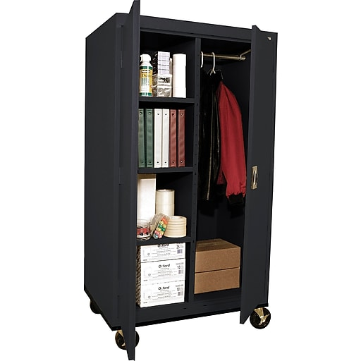 "Sandusky Elite 66""H Transport Mobile Combination Steel Cabinet with 5 Shelves, Black (TACR362460-09)"