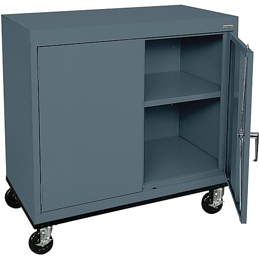 "Sandusky Elite 36""H Transport Work Height Storage Cabinet with 2 Shelves, Charcoal (TA11362430-02)"