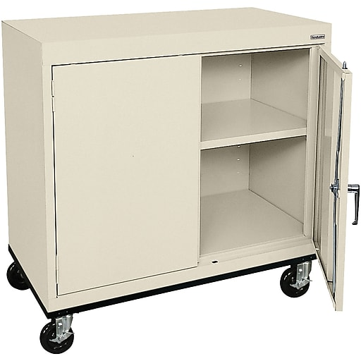 "Sandusky Elite 36""H Transport Work Height Storage Cabinet with 2 Shelves, Putty (TA11362430-07)"