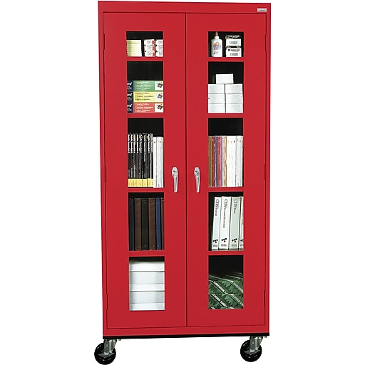 """Sandusky See Thru 78""""H Transport Mobile Clearview Storage Cabinet with 5 Shelves, Red (TA4V361872-01)"""