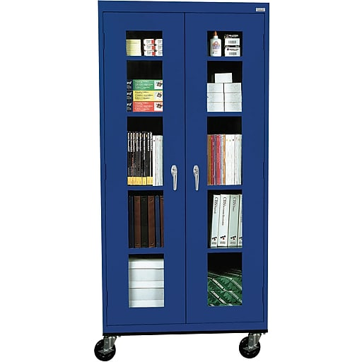 "Sandusky See Thru 78""H Transport Mobile Clearview Storage Cabinet with 5 Shelves, Blue (TA4V362472-06)"